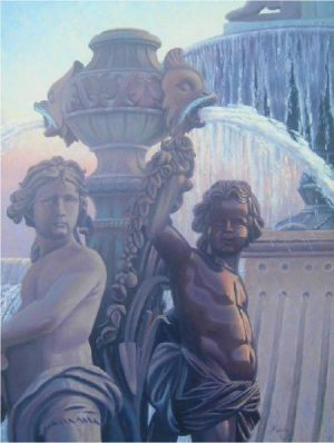 """6am at the Fountain"" - LePuy_France Original Oil Painting 18"" x 24"" by Gary Kerby"