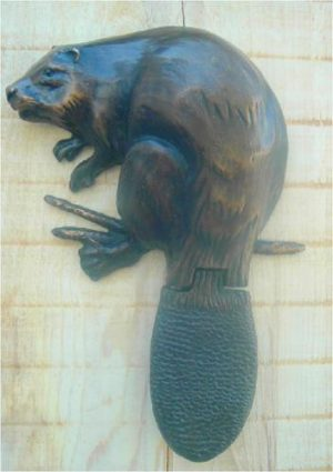 Beaver - Bronze Door Knocker Sculpture by Gary Kerby