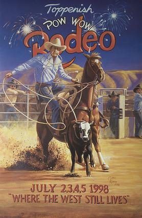 1998 Toppenish Rodeo and Pow Wow Poster by Gary Kerby