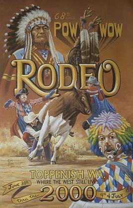 Toppenish Rodeo and Pow Wow Poster July 2000 by Gary Kerby