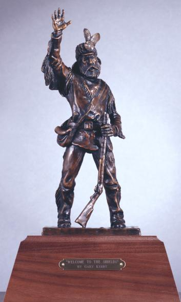 """""""Welcome to the Shields"""" - Bronze Thunder Jack Sculpture by Gary Kerby 13""""H x 8""""W Limited Edition 10"""