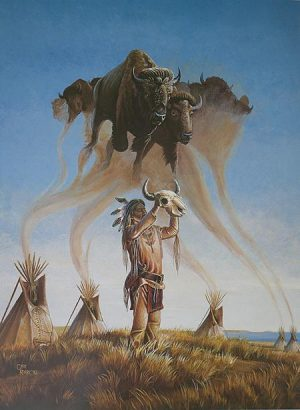 """What the Spirit Tells Me"" Litho Print 16"" X 21.5"" Native American Indian and Buffalo painting by Gary Kerby"