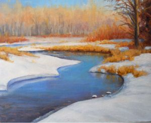 """February on Cottonwood Creek"" - 8""x- 10"" - Original Oil by Gary Kerby"