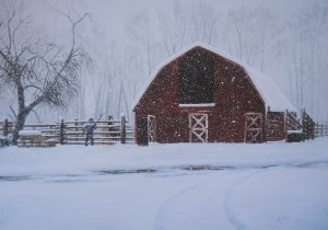 """Grandpa's Barn"" by Gary Kirby 18"" x 24"" Canvas Print This was my Grandpa's barn. This painting was of my Dad feeding his horse Snipe in the winter of 2006 when we got 18 inches of snow in 6 hours. The old barn holds a lot of memories for many of us. Not just the family."