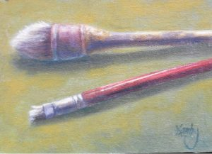 """Beat Up"" by Gary Kerby Original 5"" x 7"" Oil on Canvas ""These are just a couple of my brushes after painting a large mural."""