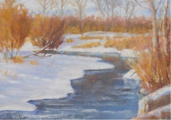 """Cold Creek"" by Gary Kerby Original 5"" x 7"" Oil on Canvas It was below zero, I took a photo, went home, warmed up and painted this the next day."