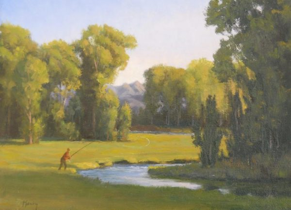 """""""Montana River"""" by Gary Kerby Original 9"""" x 12"""" Oil on Canvas """"I love this little bend of the river where I almost always catch a fish"""""""