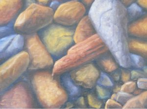 """Rock On"" by Gary Kerby Original 9"" x 12"" Oil on Canvas ""With the rocks beneath your feet in the river there are all kinds of possibilities."""
