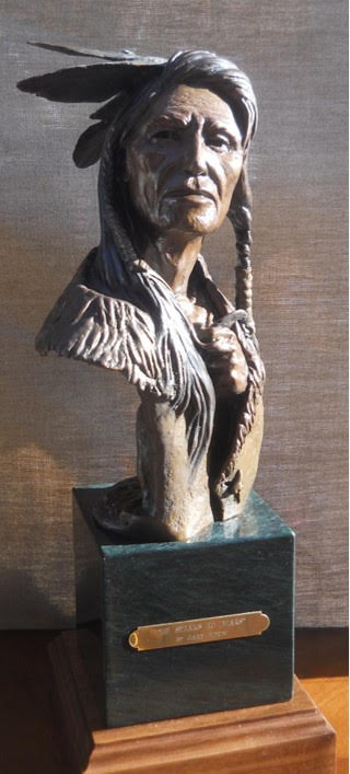 """""""He Speaks to Bears"""" - Original Bronze Sculpture by Gary Kerby Size: 16"""" H x 8"""" W x 5"""" D Limited Edition 15"""